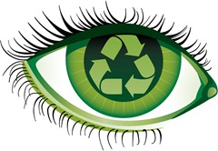 Human eye with the recycling emblem inside<br /><br />File contains gradients